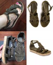 39 or 8 Khaki Green Tassel Flats Shoes Sandals Country Road