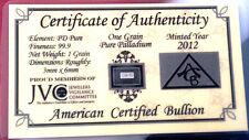 ACB Palladium 99.9 Pure 1Grain Bar. COA Included for Precious Metal Bullion PD $