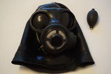 Latexmaske Gr. M schwarz Gasmaske mit Innenknebel aufblasbar Latex Gummi Rubber