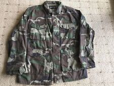 GREEN CAMOUFLAGE JACKET SZ S BUT RUNS LIKE A M BUDWEISER ACROSS BACK L/S NEW