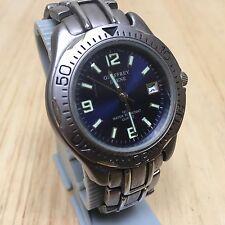 Vintage Geoffrey Beene Men Titanium Tone Analog Quartz Watch Hour~Date~New Batte