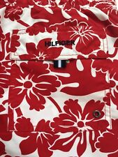 TOMMY HILFIGER Mens Red White Hawaii Floral Print Swimming Trunks Shorts XL