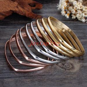 9pcs/Set Stainless Steel Women's Bracelet Bangle Tri-Color Gold Silver Rose Gold