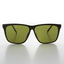 Large Black Square Frame Vintage Sunglass with Olive Green Lens -Denmark