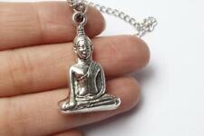 "ASIAN SPIRITUAL BUDDHA pendant 20"" Sterling Silver 925 necklace chain female men"