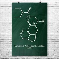 LSD Molecule Poster Print Acid Art Print Stoner Gift Lsd Art Head Shop Wall Art