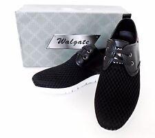 Men's WALGATE Black Blue leather lining athletic sports walking gym shoes 9522