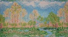 Monet Cottage Stream Trees Field Flowers Abstract Landscape Cotton Fabric Panel
