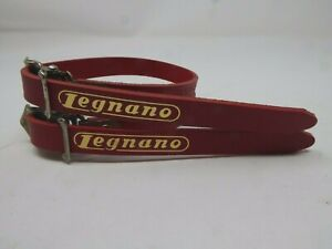 Vintage NOS  Legnano  Red  Leather Toe Straps 4 Your Vintage Steel Ride