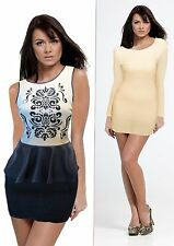 Beaded Peplum and Long Sleeve Gold Metallic Petite Mini Dress Bundle - Size M