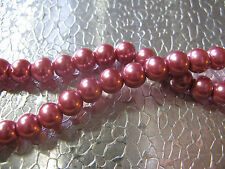 Glass Pearl Beads 6mm Round Jewelry Finding Mauve Color Glass Beads You get 50
