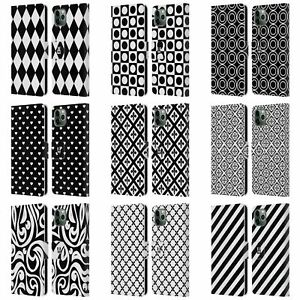 HEAD CASE BNW PATTERNS LEATHER BOOK CASE & WALLPAPER FOR APPLE iPHONE PHONES