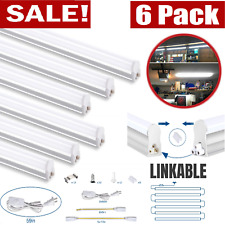 6Pack T5 LED 4FT Lights Garagе Shop Linkable 6500K Super Bright Ceiling Fixture