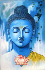 Impresión enmarcado-efecto acuarela azul frente Buda (imagen arte budista)