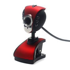 Red USB 2.0 HD Webcam Camera Web Cam Built In Microphone Mic LED For PC Laptop