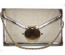 FELIX REY Target Canvas Shell Clutch Purse Chain Strap Gold Shoulder Bag Evening