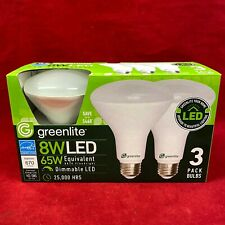 Pack of 3: Greenlite 8W LED (65W) Floodlight Bulbs 3000K Bright White BR30