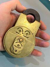 More details for large rare heavy antique brass padlock & key cotterill birmingham acme patent