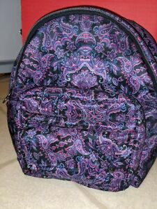 Lesportsac backpack Purple Paisley Purse Black Strap zip pockets carry all