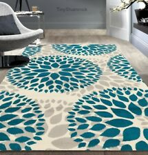 Teal Gray Area Rug Floral Medallion 5 X 7 Modern Urban Style Room Carpet Rugs