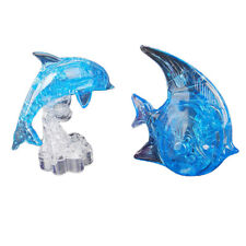 3D Crystal Blue Fish & Dolphin Model Puzzles Assembly Kids Intelligence Toys