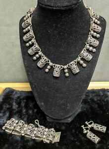 Vintage Mexico Taxco Sterling 980 Silver Necklace Bracelet and Earrings Set (N