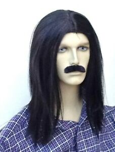 LONG BLACK STRAIGHT HIPPIE STYLE FANCY DRESS WIG & SELF ADHESIVE MOUSTACHE