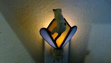 Vintage Stained Glass & Climbing Bone China Siamese Cat Plug In Night Light