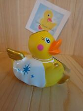 "ABBEY ANGEL Duck 4"" Rubber Ducky 2012 Toy Smith Christmas Gold Wings Bath Toy"