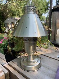 Vintage Mid Century Modern Metal Mushroom UFO Atomic Oil Table Lamp  Brass RARE