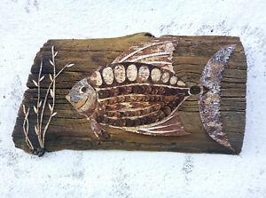 Fish Birch Bark art Reclaimed wood art Rustic Home decor Modern sculpture Gift