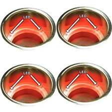 4 Recessed Mount Red LED Lighted Stainless Drink Holders - Fits 3-5/8 Inch Hole