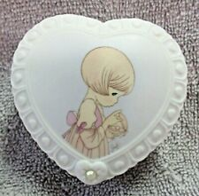 June Heart Shaped Covered Ring Box Ceramic with Pearl on Lid Precious Moments