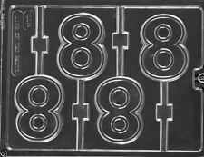 NO 8 NUMBER EIGHT CHOCOLATE LOLLIPOP LOLLY MOULD MOLD 4 ON 1