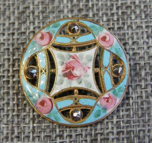"""Antique Vtg Cloisonné Enamel Button Open Work  Steel Rivets~Aprx:1-1/8""""~ #1121-E"""