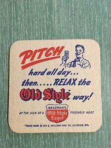Vintage Old Style Lager Heileman's La Crosse Wisconsin Beer Coaster America 1942