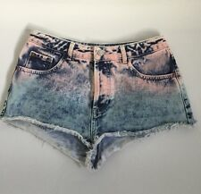 TOPSHOP DENIM MOTO SHORTS  FADED WASHED LOOK BLUE &  PINK SIZE W 28 UK 10