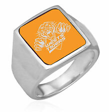 85804 West Tigers NRL Team Logo Coloured Stainless Steel Mens Dress Ring