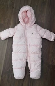 Baby Gap Girls Snowsuit 3-6 Months Pink Print Hearts Pramsuit Winter  G