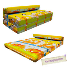 Double Kids Folding Guest Bed Savannah Animals Sofabed Sofa Mattress Sleepover
