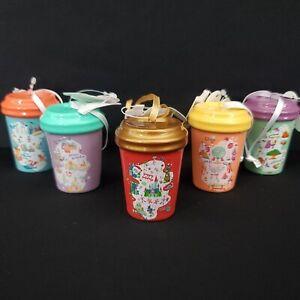 *Set of 5* 2020 Disney Park Exclusive WDW Starbucks Ceramic Ornaments Holiday