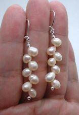 Cluster Pink Fresh Water Pearls Sterling Silver Earrings A0415