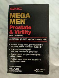 GNC Mega Men Prostate and Virility Multivitamin 90 Caplets New-Free shipping