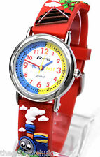 Small Childs Kids Time Teacher Watch 3D Steam Trains Tank Engine Red Strap Ravel