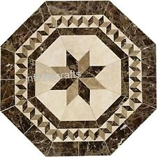 36 Inches Marble Patio Dinning Table Top Stone Lawn Table Inlay Art Home Assent
