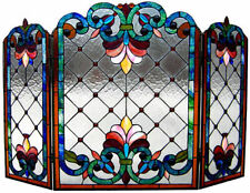 "Fireplace Screen Tiffany Style Stained Cut Glass 28"" X 44"" LAST ONE THIS PRICE"