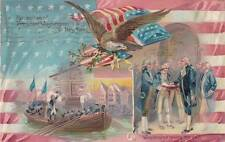 Antique Postcard c1908 President Washington Reception Oath Emb. Tuck 14759