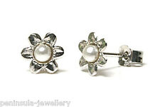 9ct White Gold Pearl Flower Stud Earrings Gift Boxed Studs Made in UK Christmas