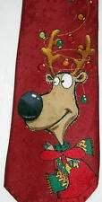"""Jingle Bells Red Holiday Necktie 58"""" Long X 4"""" Wide Ships Free in the USA"""