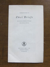Hermann Hesse ZWEI BRIEFE two letters to young artist Swiss-1st 1950 PB limited